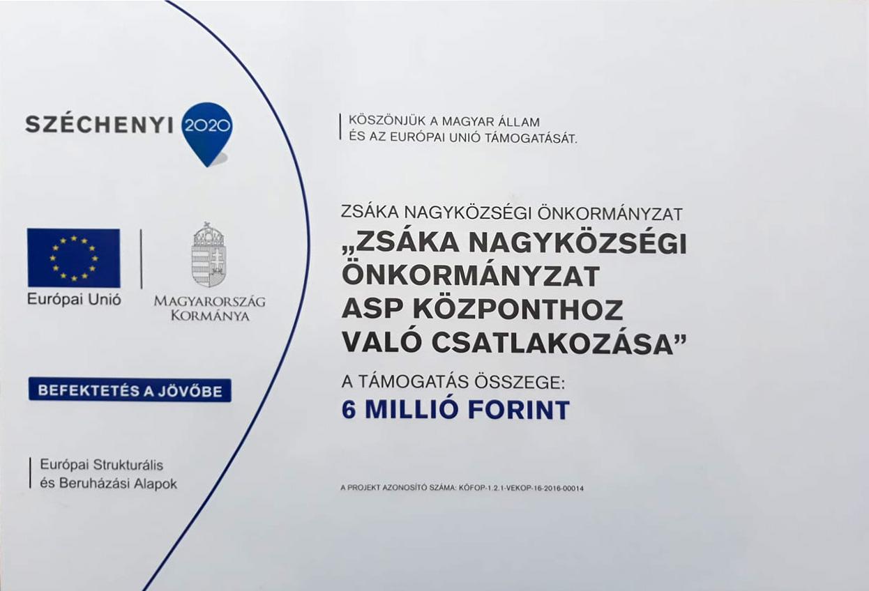 Zsáka Nagyközségi Önkormányzat ASP központhoz való csatlakozása
